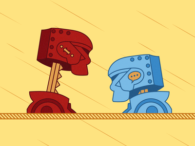 Battle of disconnection and communication rock em sock em robots messaging communication collaboration remote disconnected