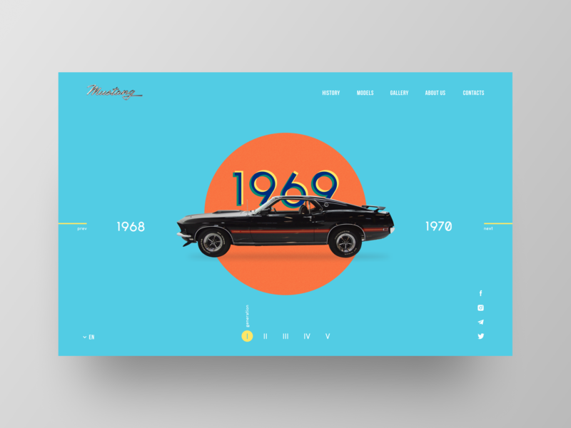 First dribbble shot / Mustang 1969 landing page design landing web 1969 retro muscle car hello dribble hellodribbble firstshot design ford mustang mustang uidesign uiux ui