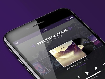 Music Player - Ui Concept mobile music player vinyl record media player phone black purple music icons player buttons ui