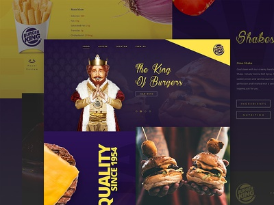 Burger King - Mock Concept web ui concept cheese king food purple restaurant grid fast food burger king royal