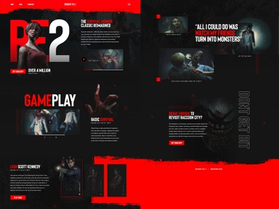 Resident Evil 2 Concept - Mocktober 2019 dark web mock monster undead horror resident evil zombies black red layout mockup video games landing page concept ui gaming design grid mocktober