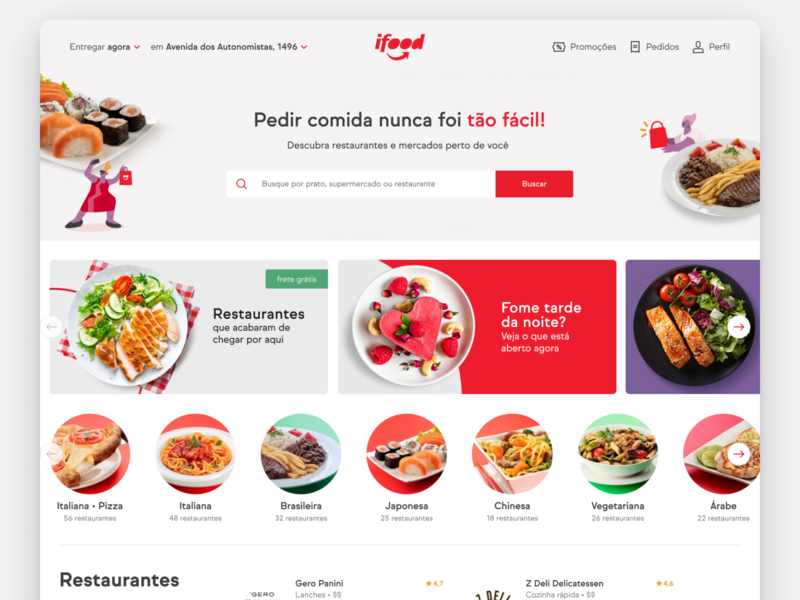 iFood website ux webapp website user experience design user interface design uxdesign uidesign user interface