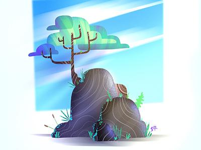 tree ipadpro sunnyday sun sky tree procreate illustration