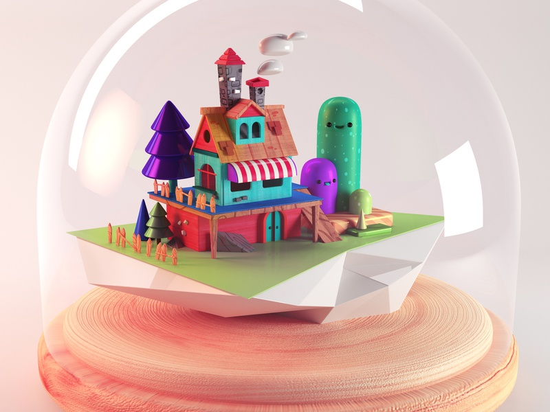 Little house forest trees nice wood toy concept art illustration house illustration cinema4d 3d 3dhouse house