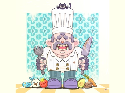 chef character conceptart tiles ipadpro pastel friends nice kitchen cooking propreate cat chef illstration