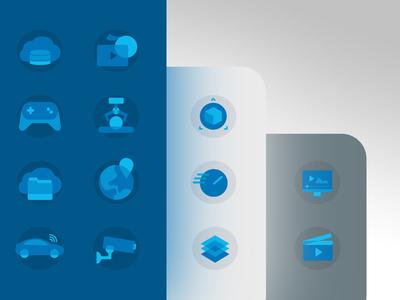 Simplistic Icon Set —Data Storage Industries & Benefits