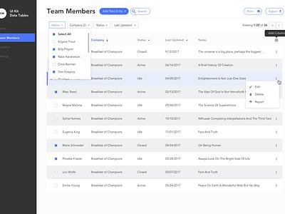 Table UI Kit information design interface dashboard resource table kit ui free sketch