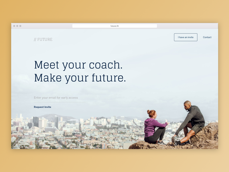 Future Landing Page invite beta startup trainer coach fitness marketing landing web