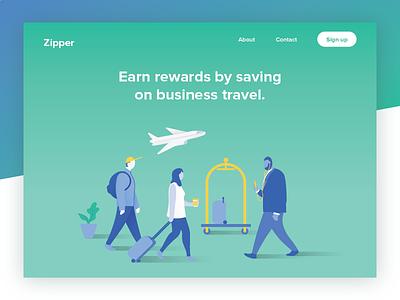 Website Header ui character people travel web website landing page illustration header homepage hero