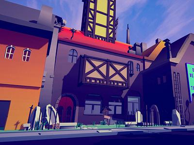 This is PolyVania city town village lowpoly envoirnment 3d assets landscape illustration unity