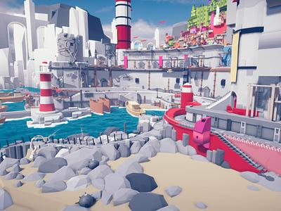 Harbour lowpoly town city envoirnment landscape unity assets 3d illustration