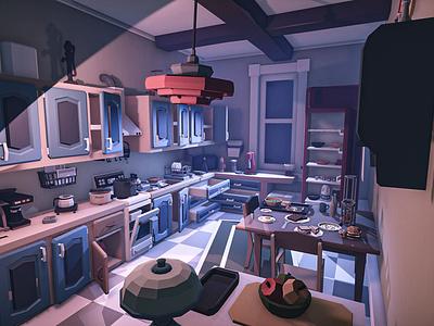 Retro Kitchen lowpoly illustration