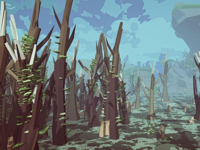 Hubs On A Trees swamp envoirnment landscape unity assets 3d illustration lowpoly
