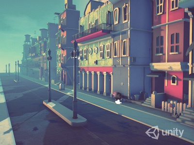 Passage in Town lowpoly 3d blender unity town
