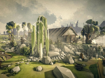 Willow lowpolyart lowpoly landscape environment nature village