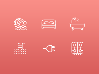amenities icons  icon design rental rentals appartments amenities mobile app icons icons