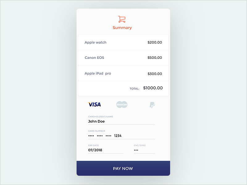 checkout screen iphone summary screen e-commerce mobile checkout