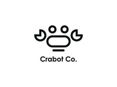 Crabot Co. animal black mark symbol typography technology minimal brand design logo robot crab