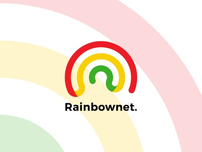 Rainbownet. colourful internet rainbow design logo brand
