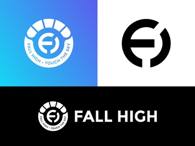 Fall High gredient design branding logo sky diving high fall parachute colour