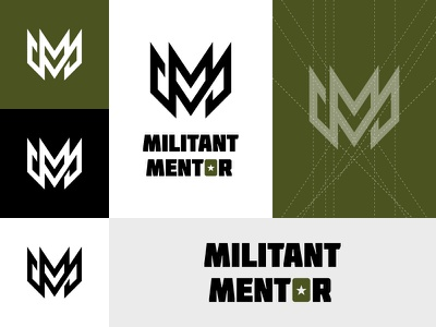 Militant Mentor mark bold strong green startup brand enterpreneur soldier military business logodesign logo