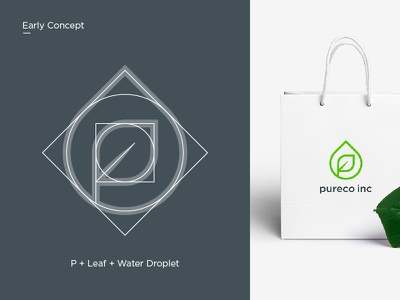 Pureco Inc. clean brand design minimal mark vector fresh paperbag product babycare green lettermark waterdrop leaf pure identitydesign branding logodesigner logodesign logo