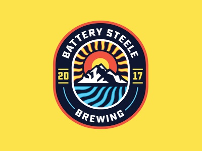Battery Steele Brewing Patch water sun summer mountain patch beer badge branding design vector illustration
