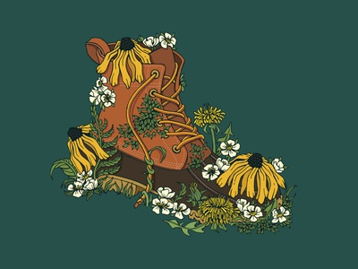 Bean Boots vector drawing ink winter spring flowers floral boot sketch drawing black eyed susan bean boots ll bean illustration