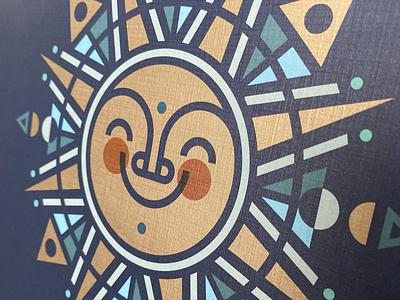 Winter Solstice Folk Sun sun folk art porter beer brewery spot gloss spot uv metallic ink package design illustration