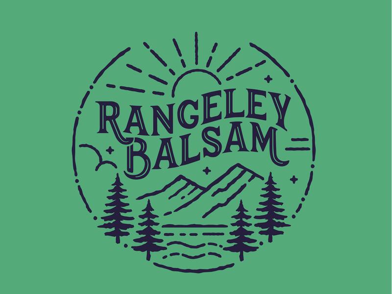 Rangeley Balsam logo blue green maine balsamiq pine tree typography mountain illustration branding logo