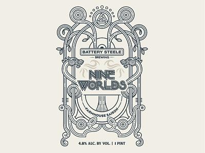 Nine Worlds Beer saison tree viking norse mythology package design packaging label design label graphic design illustration beer