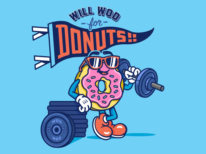 Donut T-Shirt drawings wod crossfit weight lifting cartoon donut drawing design graphic design vector illustration