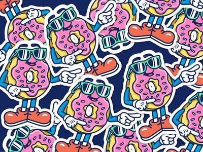Donut stickers frosting sunglasses dessert drawing cartoon donuts badge design graphic design vector illustration