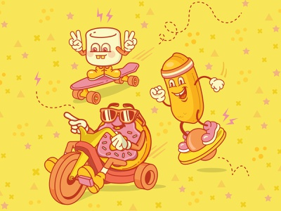 Squad Goals nostalgia draw mini cruiser donut marshmallow big wheel pogo ball twinkie cartoon design vector illustration