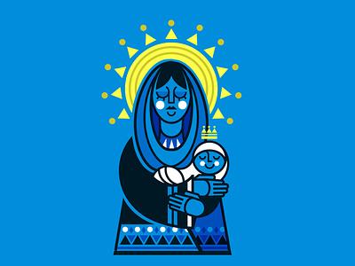 Baby Jesus christ modern folk art christmas virgin mary baby jesus blue design graphic design vector illustration