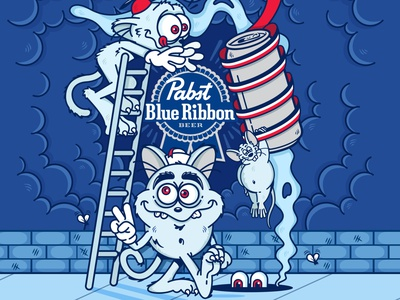 PB-aRt characters pabst pbr rat cats cartoon drawing beer vector illustration