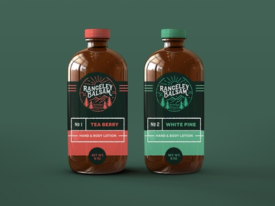 Rangeley Balsam Boston Rounds maine pine tree balsam packaging labels lotion boston round package package design logo branding design graphic design illustration