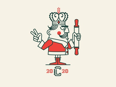 King Cornicello pasta italian identity design restaurant branding chef king cartoon character identity badge branding logo design graphic design vector illustration