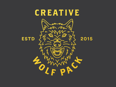 Creative Wolfpack line drawing line art wolf illustration