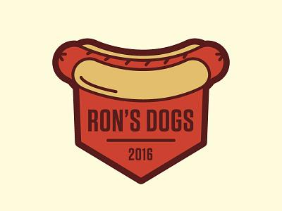 Ron's Dogs vector badge logo hot dog