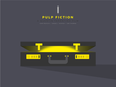 Pulp suitcase tarantino icon flat movie poster vector visual design pulp fiction illustration iconic suitcase light