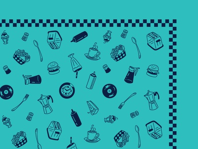 Diner Bandana Peek screenprinting pattern design bandana 50s diner icons vector flat design illustration