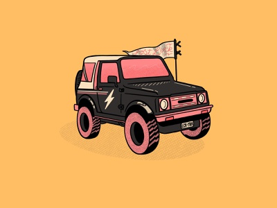 Luck Truck flat design truck lucky hand drawn procreate illustration