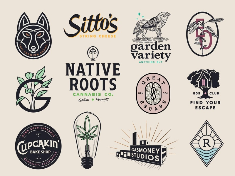 Logos garden river building climb cheese surf cannabis weed brand design brand brand identity crest logo design design logotype branding illustration lettering typography logo