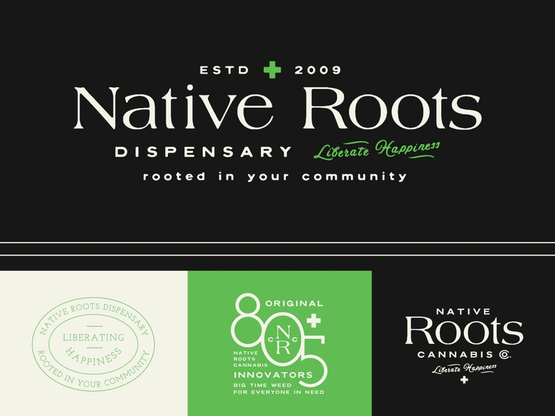 Native Roots Cannabis Dispensary Unused Branding dispensary native roots roots native marijuana logo marijuana weed logo weed branding weed cannabis logo cannabis branding cannabis visual identity branding logotype illustration hand lettering logo lettering typography