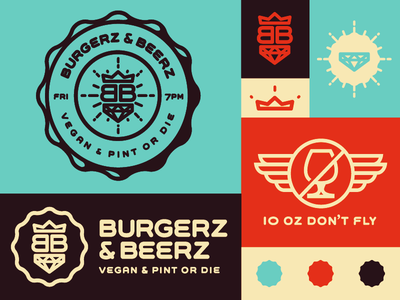 Burgerz & Beerz beer burger branding bar poster color crown gem vegan pint logo golden ratio