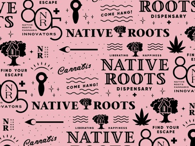 Native Roots Cannabis Branding Wallpaper Pattern 2 cannabis branding logo typography lettering two color black pink treehouse dispensary branding dispensary logo dispensary brand dispensary native roots weed logo weed branding marijuana logo marijuana brand cannabis brand cannabis logo cannabis