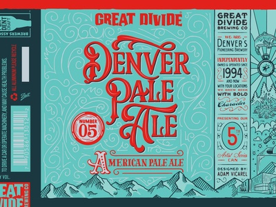 Great Divide Denver Pale Ale Artist Series Beer Can Design packaging design beer label craft beer victorian filigree teal america denver colorado great divide pale ale beer can beer logotype branding hand lettering illustration logo lettering typography