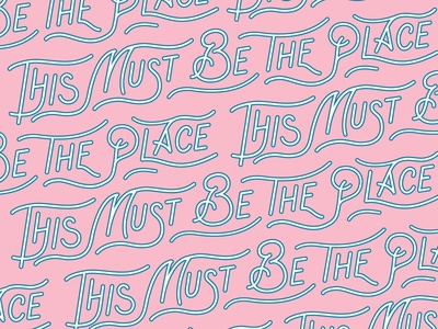 This Must Be The Place Lettering beer drink summer party color pink this must be the place typographic illustration logo branding vector design hand lettering logotype typography lettering