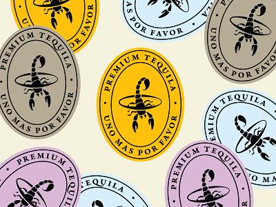 Telson Tequila Stickers crest vector illustration icon brand branding scorpion black yellow lavendar purple sticker tequila telson logo